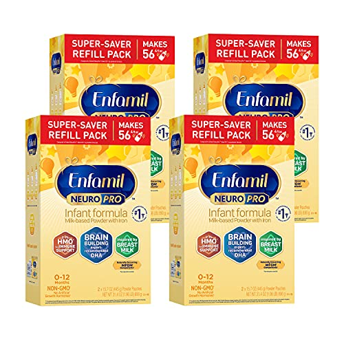 Enfamil NeuroPro Baby Formula, Triple Prebiotic Immune Blend with 2'FL HMO & Expert Recommended Omega-3 DHA, Inspired by Breast Milk, Non-GMO, Refill Box, 31.4 Oz, Pack of 4 (Packaging May Vary)