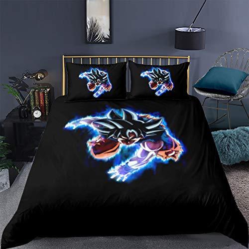 Tomifine Dragonball Z Bettwäsche-Set Hochwertige Microfaser Bettwäsche Goku Motiv Bettbezug 135 x 200 cm mit Kissenbezug 50 x 75 cm mit Marken-Reißverschluss (Dragonball-H,135 x 200 cm)