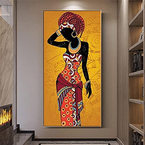 Arte africano mujer negra lienzo pintura figura delgada dama póster impresiones imagen de pared de lujo moderno para sala de estar pasillo 30x60 cm sin marco