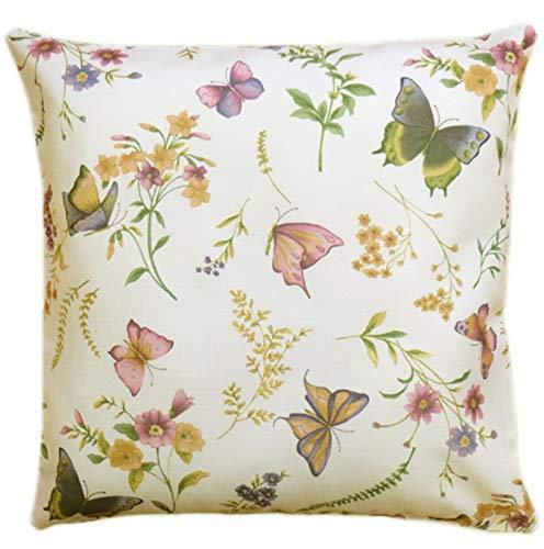 Tischdecken ALLZEIT klassisch Kissenhülle 50x50 cm Motiv beidseitig pflegeleicht Creme Schmetterlinge bunt Sommer Motivdruck (Kissenbezug 50x50 cm)