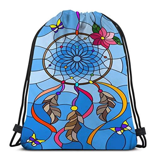 JHUIK Drawstring Bag Backpack,Bolso con cordón para niñas u Hombres Compras, Deporte, Gimnasio, Yoga, ilustración de la Escuela Estilo vitral atrapasueños Mariposas Cielo vitral sueño Marca de Agua