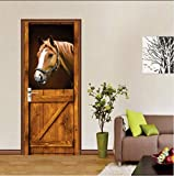 WAFJJ 3d door stickers murals horse Creative 3D Wall Self Adhesive Sticker Decal Art Decor Removable Waterproof Mural Poster Scene Window Door Room Nursery 77x200cm