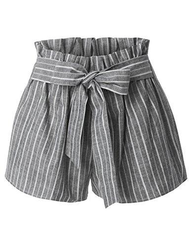 RK RUBY KARAT Womens Casual High Waisted Self Tie Striped Linen Summer Shorts
