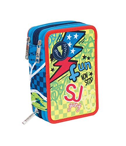 SEVEN S.P.A. ASTUCCIO scuola SJ BOY - Bambino - 3 scomparti - Blu - pennarelli matite gomma ecc.