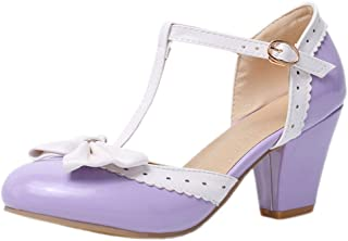 Nonbrand TAONEEF Women Sweet Ankle Strap Heeled Pumps Buckle