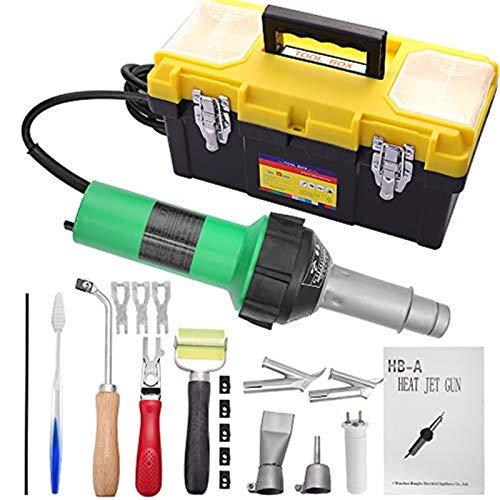 KKTECT Herramienta de soldadura para soldador de plástico 1600W Pistola de aire caliente de 20 ℃ - 600 ℃ Kit de pistola de aire caliente de 21 piezas Soldador de plástico de mano PVC retráctil