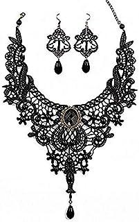 Amupper set di collana e orecchini in stile pizzo nero – Girocollo gotico, accessori per matrimonio, compleanno, Halloween...