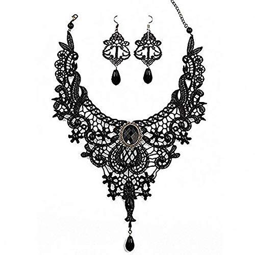 Amupper Black Lace Halskette Ohrringe Set - Gothic Lolita Anhänger Choker Kleidung Zubehör für...