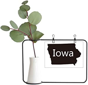 DIYthinker Iowa America USA Map Silhouette Metal Picture Frame Ceramic Vase Decor