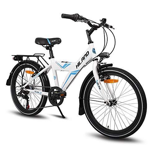 Hiland Rocket - Bicicleta infantil de 20 pulgadas para niños a partir de 7 – 9 años, con 6 marchas, portaequipajes, freno de mano, color negro y blanco, color Blanco, tamaño 20 inches