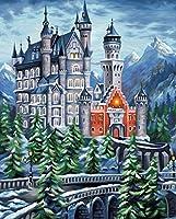 子供と大人と初心者のための数字でペイントDIY油絵ギフトキットペイントブラシでペイントワークを描く16x20インチフレームレスホームウォールリビングルームの寝室の装飾 高山の城