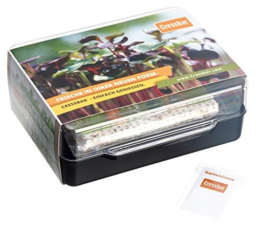 Cressbar® Starterkit schwarz - 3 Cressbar Kresseschalen mit 24 Cresspads aus Gartenkresse, Radieschen, Rucola, Senf