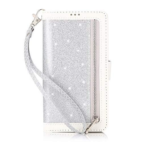 Miagon für Samsung Galaxy A41 Reißverschluss Brieftasche Hülle,Bling Glitzer Leder Handyhülle 9 Kartenhalter Flip Magnetverschluss Stand Schutzhülle Tasche und Handschlaufe