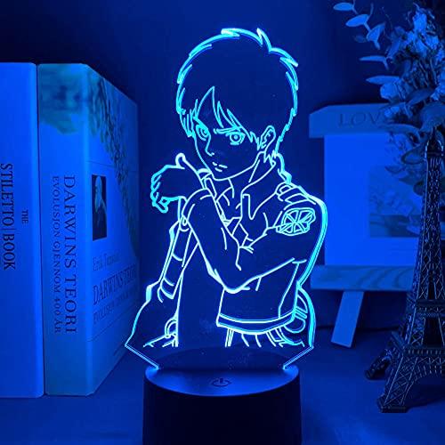 Lámpara de ilusión de Talbe de luz de noche Led 3D ataque de Anime acrílico en Titán para decoración de habitación capitán Levi Ackerman-Dm15_con control remoto