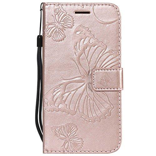 DENDICO Cover Galaxy S5, Pelle Portafoglio Custodia per Samsung Galaxy S5 Custodia a Libro con Funzione di appoggio e Porta Carte di cRossoito - Oro Rosa