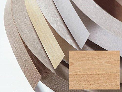 Kantenumleimer, Bügelkante, Melaminkante mit Schmelzkleber für Möbelbauplatten und Regalbretter - 5 Meter - Buche natur Höhe 36 mm