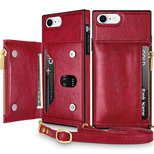 Coolden for iPhone 8 Wallet Case with Lanyard Crossbody Strap Credit Card Holder Slot Square Cover Protective Soft PU Leather Zipper Back Case for 4.7 inch iPhone 6s 7 8 SE2 Wine Red
