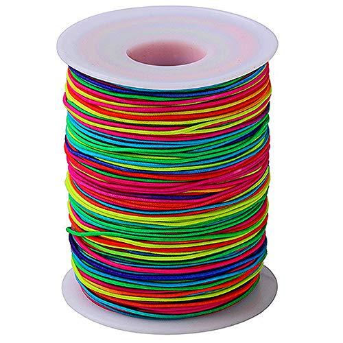 Gurxi Runde Elastic Band 1mm Gummikordel Zum Nähen und Handwerk Rainbow Schnur für Armband Wird für die Herstellung von Schmuckarmbändern verwendet Hosen Stretchseil DIY Handwerk (Regenbogen)
