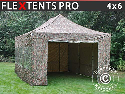 Dancover Faltzelt Faltpavillon Wasserdicht FleXtents PRO 4x6m Camouflage, mit 8 Seitenwänden