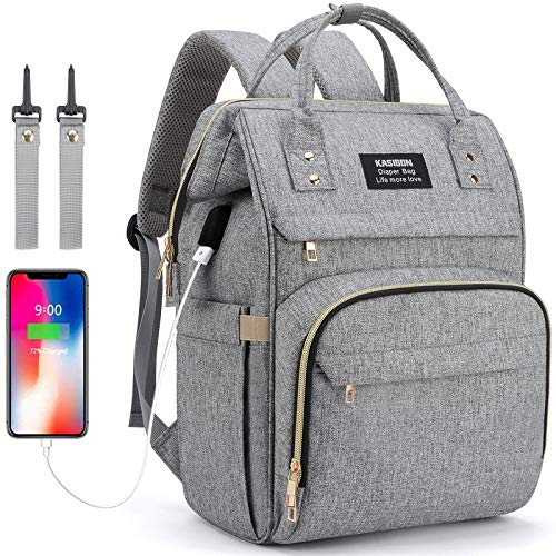 Baby Changing Bag Backpack, Nappy Bag Backpack with USB Charging Port, Diaper Bag Backpack with Insulated Pockets Stroller Straps (Grey)