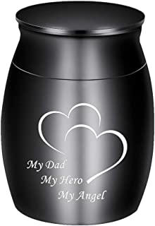 Dletay Small Keepsake Urns for Human Ashes Mini Cremation Urns for Ashes Stainless Steel Memorial Ashes Holder-My Dad My H...