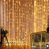 YINUO LIGHT Tenda Luci LED, Tenda Luminosa 300 LED 3mx3m, Luci Stringa Cascata Impermeabile 8 Modalità Dimmerabile, Funzione Memoria e Timer per Decorazione Feste Natale San Valentino(Bianco caldo)