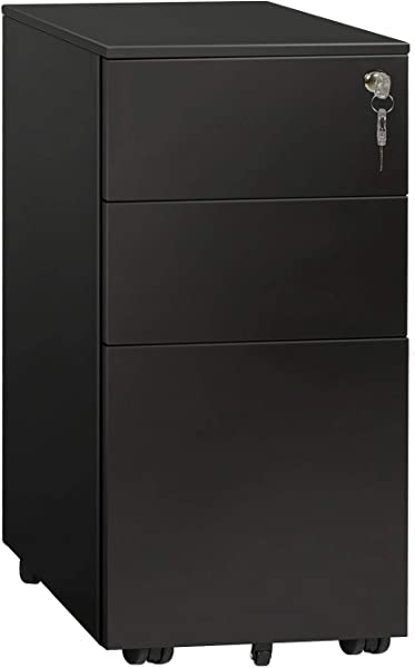 DEVAISE Locking File Cabinet 3 Drawer Rolling Metal Filing Cabinet Fully Assembled Except Wheels Black