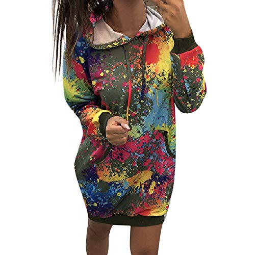 Lazzboy Hoodie Womens Slouch Jumper Pullover Tie Dye Print Colorful Splash Ink Casual Loose Ladies Long Sweatshirt Tops Blouse (14,Green)