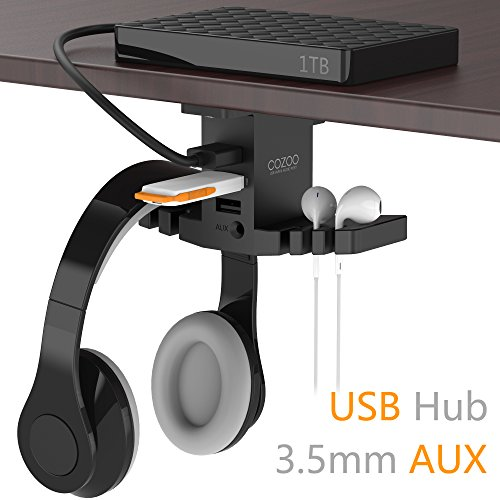 Headphone Stand with USB Hub COZOO Under Desk Headset Hanger Mount...