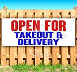 Open for Takeout & Delivery 13 oz Heavy Duty Vinyl Banner Sign with Metal Grommets, New, Store, Advertising,...