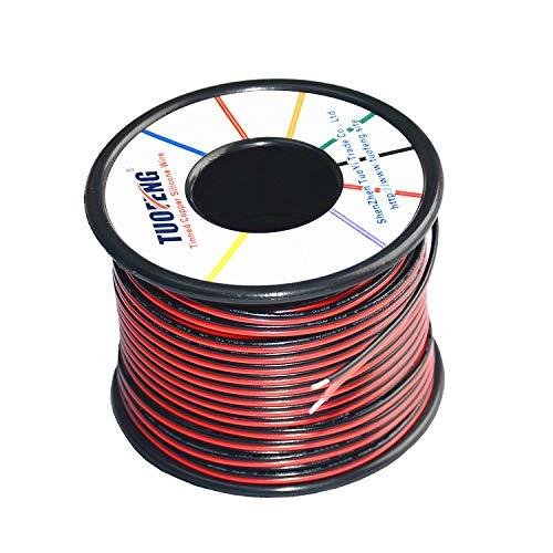 Fil électrique de Calibre 22 TUOFENG Bobine de 30 mètres Câble de rallonge à 2 Broches Câble de 12V Fil pour Bande Lumineuse à LED Unique 3528 5050