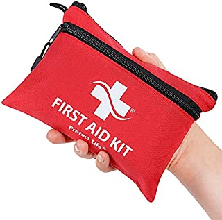 Protect Life First Aid Kit - 100 Piece - Small First Aid Kit for Camping, Hiking, Backpacking, Travel, Vehicle - Stocked w/Emergency & Survival Medical Supplies