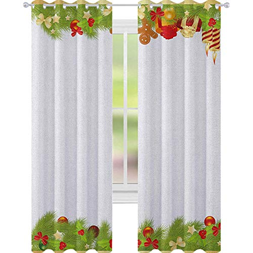 YUAZHOQI Cortinas navideñas para sala de estar, hojas de árbol perenne, abeto, pan de jengibre, velas, cintas, composición alegre, cortinas opacas para dormitorio, 132 x 160 cm, multicolor