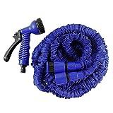 Helo Gartenschlauch 'Flexi' 15 m ausgedehnt (5 m gefaltet), Farbe: Blau - Flexibler Garten Flexischlauch Wasserschlauch mit verstärktem Gewebe inkl. 7 Funktionen Spritzpistole