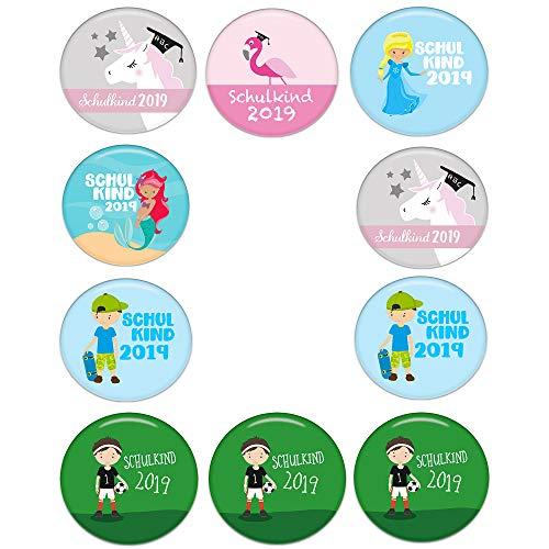 Polarkind Button Pin Anstecker Schulkinder Geschenk zum Schulanfang 38mm Handmade (Motiv: 9er Set Schulkind Mädchen)