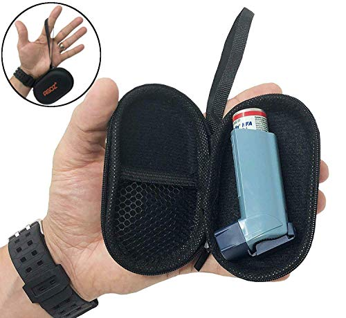 AGOZ Asthma Inhaler Case Zippered Protective Medical Pouch Cover with Wrist Strap (Black)