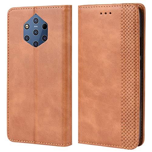 HualuBro Handyhülle für Nokia 9 PureView Hülle, Retro Leder Brieftasche Tasche Schutzhülle Handytasche LederHülle Flip Hülle Cover für Nokia 9 PureView - Braun