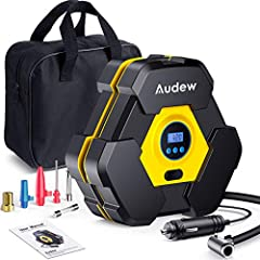 【 FAST INFLATING & EASY TO OPERATE】-Audew tire inflator has the original unique turbocharged movement, which is more powerful,stable and less noisy. Inflate the 195/65R15 car tire from 0 to 35psi in 5 min.Just simply set your desired pressure with th...
