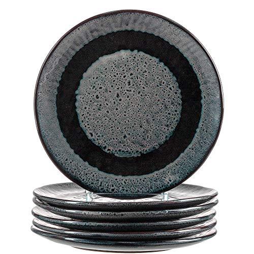 Leonardo Matera Keramik-Teller 6-er Set, spülmaschinengeeignete Speise-Teller, Essteller mit Glasur, 6 runde Steingut-Teller grau, Ø 22,5 cm, 018555