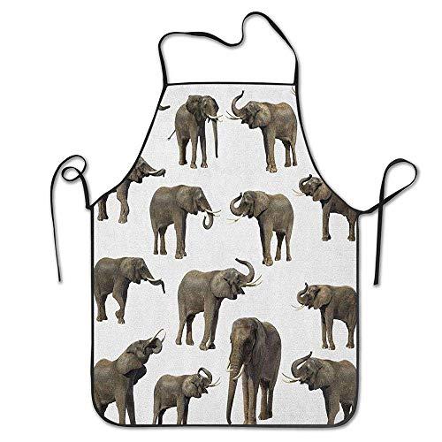 Not Applicable Groupe d'éléphants défense Oreille Grande Vie Sauvage Jungle forêt de mammifères Jungle Vie Tablier Unisexe Cuisine Bavoir Cou pour Cuisine Jardinage, Taille Adulte