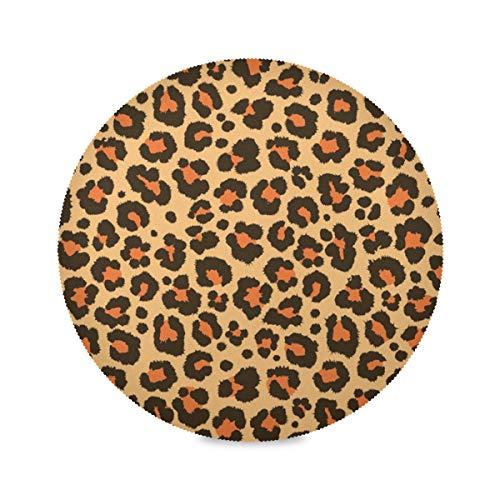 Jumbrear Set de table rond imprimé léopard antidérapant lavable résistant à la chaleur imperméable pour cuisine salle à manger décoration de table basse 15,4 cm, Couleur a, 4 pièces