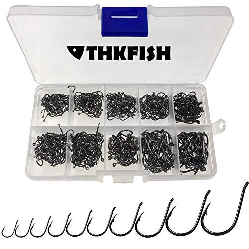 Bass_season THKFISH Fishing Hooks Freshwater Fishing Tackle High Carbon Steel Fishing Hooks with Plastic Box 10Sizes 500Pcs