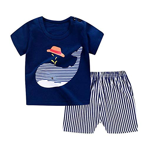 AOQW Infant Clothing Cartoon Baby Boy Summer Clothes T-Shirt Shorts Baby Girl Casual Clothing Sets Home Daily Dress Casual Party Games Etc-Zjs00041-P30_3T