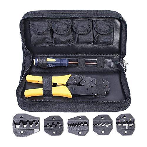 Amzdeal Crimpadora con 5 Pinzas Intercambiables 1*destornillador y 1 *caja de Almacenamiento...