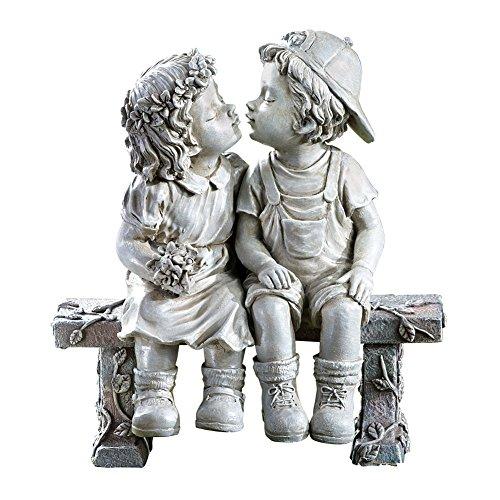 """First Kiss, Puppy Love, Kissing Couple Garden Sculpture, 8 1/4"""" L x 4 3/4"""" W x 9"""" H"""