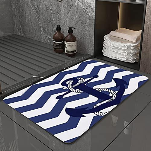 La Alfombra de baño es Suave y cómoda, Absorbente, Antideslizante,Patrón de Anclaje Chevron Zig ZagApto para baño, Cocina, Dormitorio (50x80 cm)