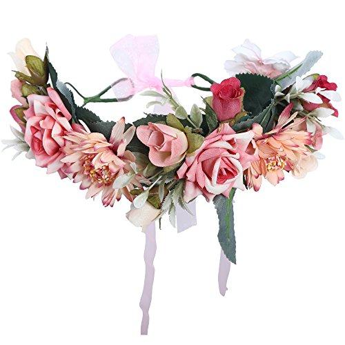 AWAYTR Blumen Stirnband Hochzeit Haarkranz Krone - Frauen Mädchen Blumenkranz Haare für Hochzeit Party(Hellpink)