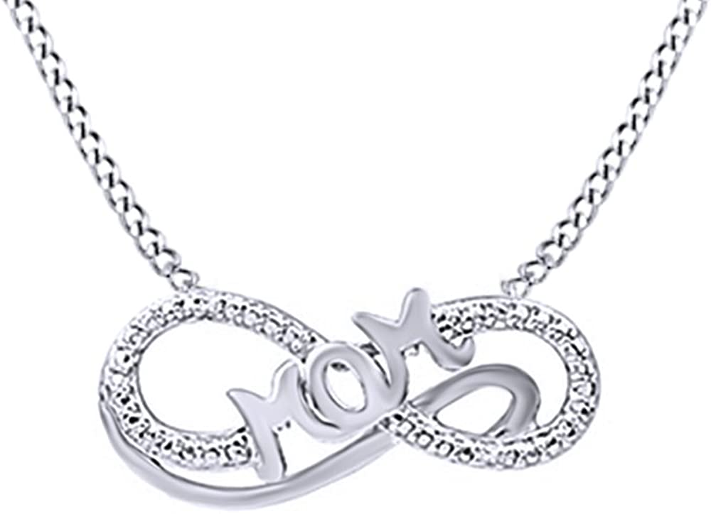 AFFY Round Cubic Zirconia Mom Infinity Pendant Necklace in 14K Gold Over Sterling Silver