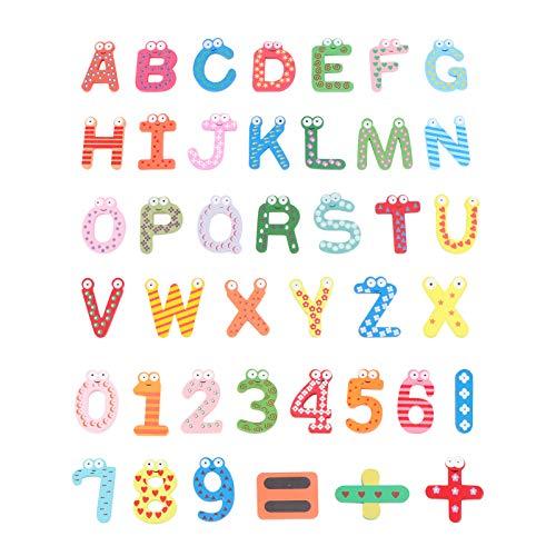 OUNONA Imanes para Refrigerador Nevera Madera de Dibujos Animados Número e Alfabeto Nevera Imán Etiqueta