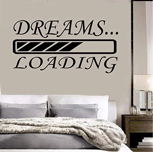 Dreams Loading Wall Decals Etiqueta de la pared de vinilo extraíble para la decoración del hogar del dormitorio 56x29cm RFTY-593